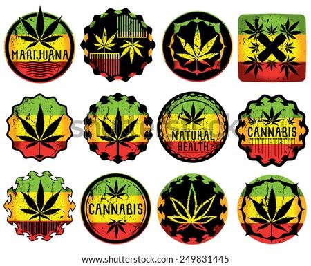 cannabis marijuana leaf symbol jamaican style sticker  - stock vector