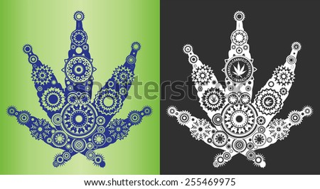 cannabis marijuana textured decorative leaf symbol - stock vector
