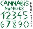 cannabis numbers against white background, abstract vector art illustration - stock vector
