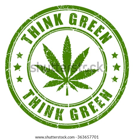 Cannabis rubber stamp, think green - stock vector