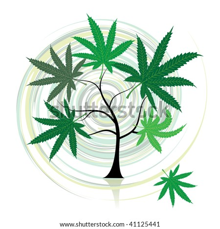 Cannabis tree - stock vector