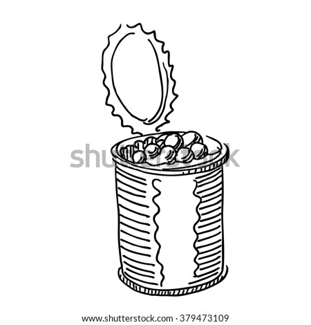 Canned beans or fish caviar or olives food sketch  drawing. Vintage line style illustration. 
