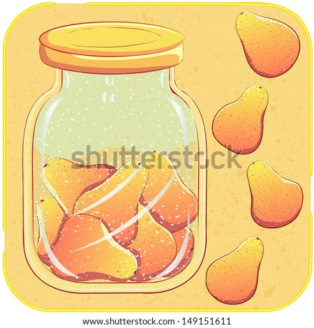 Canned pears in a glass jar. Stewed fruit, jam or preserves. Vector illustration - stock vector