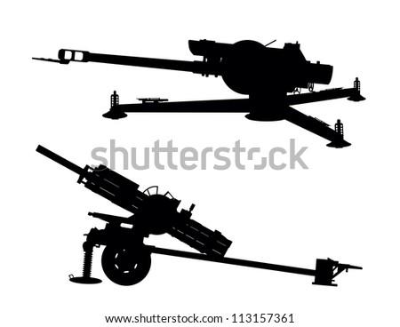 Cannon artillery vector silhouettes - stock vector