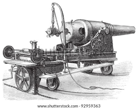 Cannon (24cm) / vintage illustration from Meyers Konversations-Lexikon 1897 - stock vector