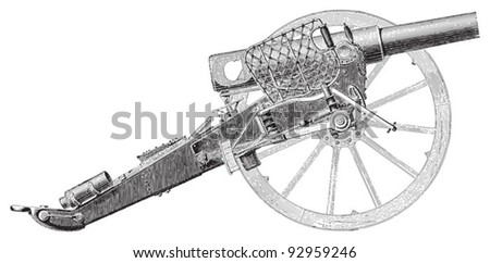 Cannon (from Germany 1873) / vintage illustration from Meyers Konversations-Lexikon 1897 - stock vector