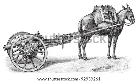 Cannon (from Spain) / vintage illustration from Meyers Konversations-Lexikon 1897 - stock vector