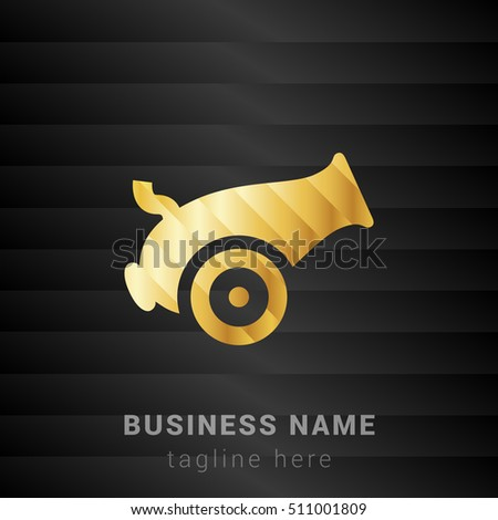 Cannon Gold and Black silk fashion premium icon / Logo