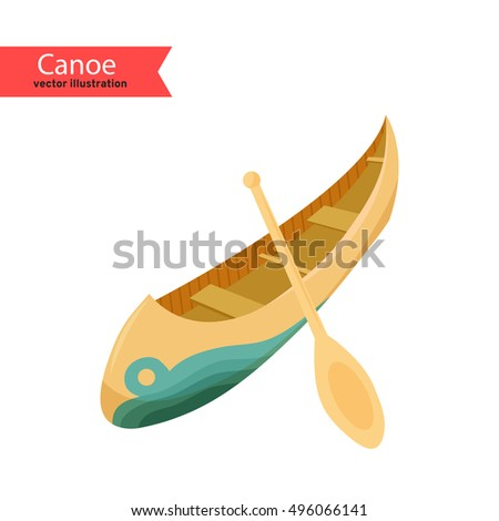 Canoe. Vector illustration of a canoe isolated on white background.