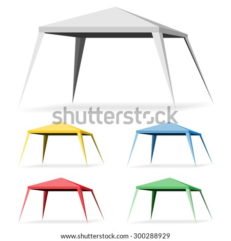 Canopy Tent on a white background. Set Gazebo Icon Illustration. Vector EPS10. - stock vector