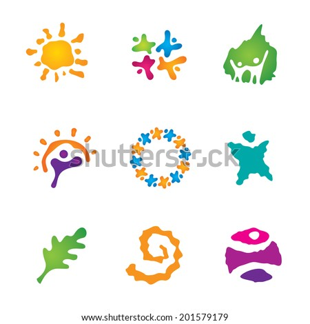 Canvas art work beautiful people partnership logo exotic travel icon set - stock vector