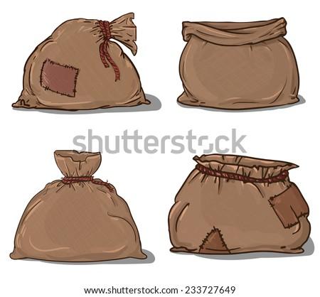 Canvas sack set vector. canvas bag. Illustration of a canvas sack - stock vector