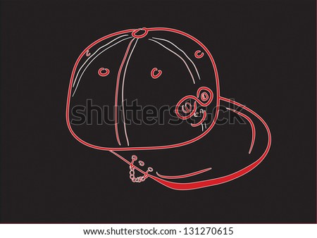 Cap, baseball cap, headdress, peak, sketch, line - stock vector