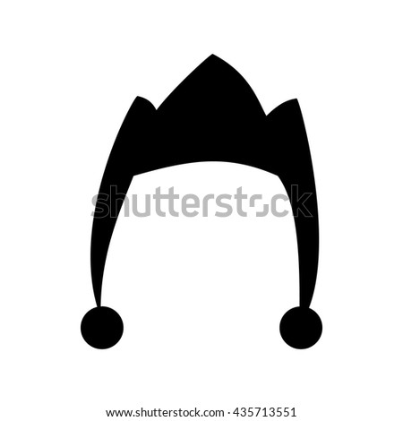 Cap jester silhouette isolated on white background. Hat icon - stock vector