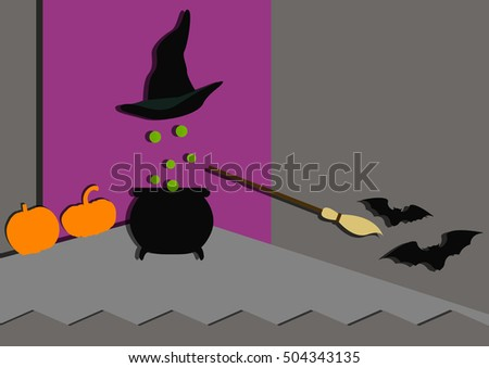 Cap of invisibility sweeping out Halloween bats. Flat vector illustration