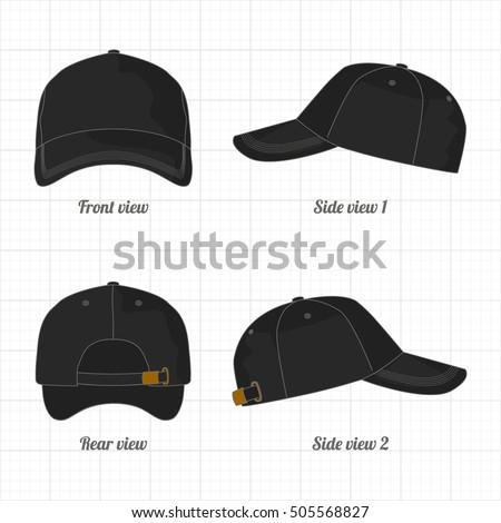 Cap Template Set Front Side Back Stock Vector 505568827 - Shutterstock