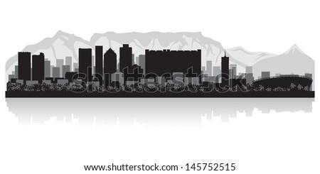 Cape Town city skyline silhouette vector illustration - stock vector
