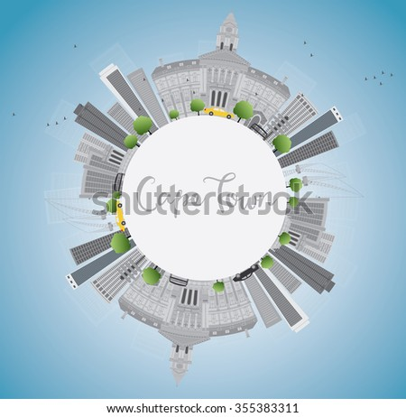 Cape town skyline with grey buildings, blue sky and copy space. Vector illustration. Business travel and tourism concept with place for text. Image for presentation, banner, placard and web site.