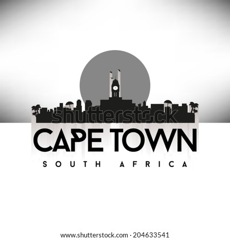 Cape Town South Africa, Black Skyline Design, vector illustration. - stock vector