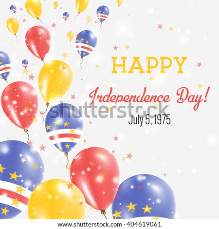 Cape Verde Independence Day Greeting Card. Flying Balloons in Cape Verde National Colors. Happy Independence Day Cape Verde Vector Illustration.
