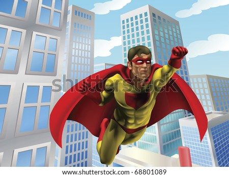 Caped super hero flying through the air in a city scene - stock vector