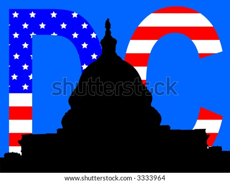 capital building Washington DC with American flag - stock vector