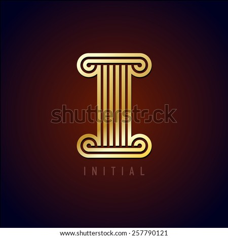 Capital I letter logo in a ancient column style. Parallel golden lines monogram style sign. - stock vector