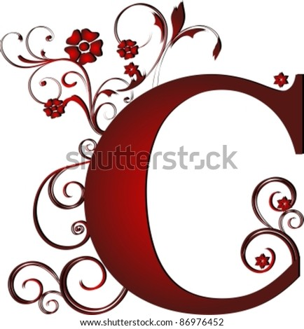 capital letter C red - stock vector