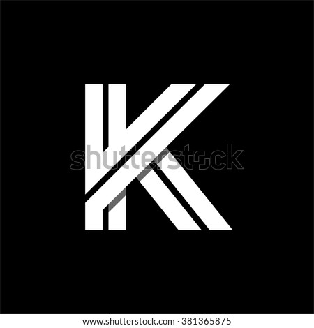 Capital letter K. Made of wide white stripes Overlapping with shadows. Logo, monogram, emblem trendy design.  - stock vector