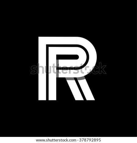 Capital letter P. Made of wide white stripes Overlapping with shadows. Logo, monogram, emblem trendy design.  - stock vector