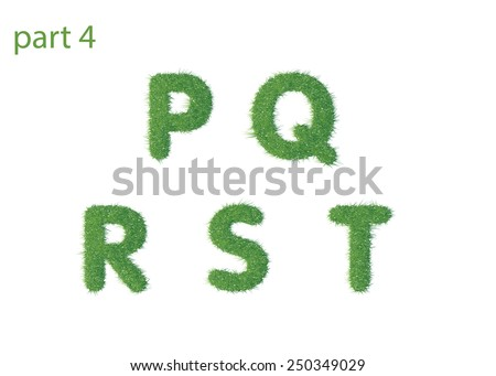 Capital letter P Q R S T texture green grass vector illustration - stock vector