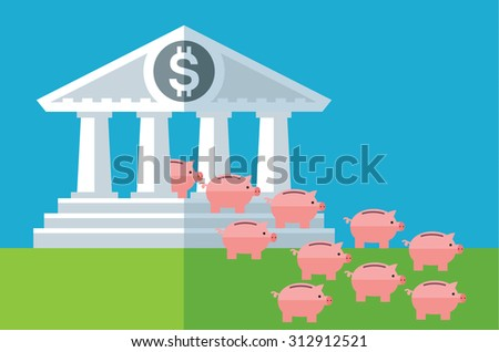 capital outflow. Piggy banks run out bank building. Flat vector business illustration - stock vector