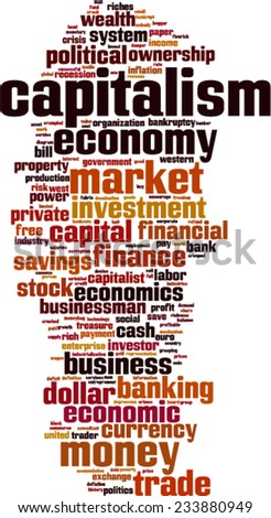 Capitalism word cloud concept. Vector illustration