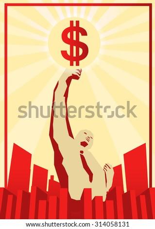 capitalist in propaganda style - stock vector