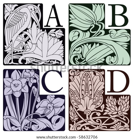 capitals and initials of the ancient book - stock vector