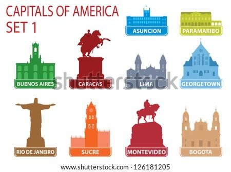Capitals of America. Set 1 - stock vector