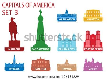 Capitals of America. Set 3 - stock vector