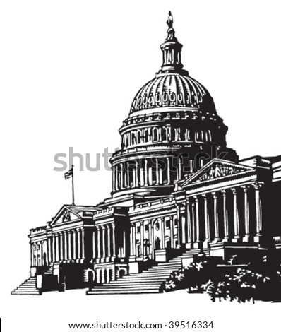 Capitol building illustration - stock vector