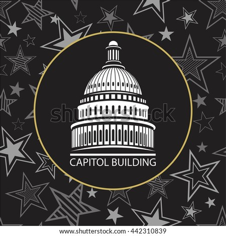 Capitol building in the United States of America with the stars in a circle pattern for the election of US President - stock vector