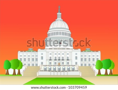capitol hill at sundown ( vector ) - stock vector