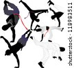 Capoeira fighter vector silhouettes on white background. Layered. Fully editable - stock photo