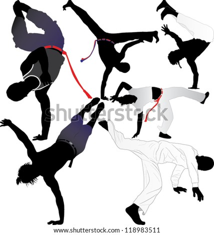 Capoeira fighter vector silhouettes on white background. Layered. Fully editable