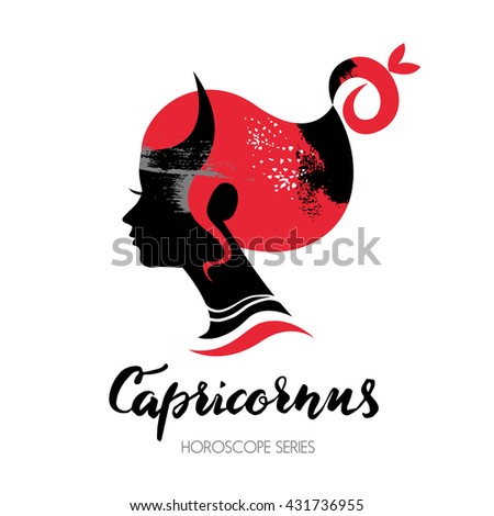 Capricorn zodiac sign. Beautiful girl silhouette. Vector illustration. Horoscope series - stock vector
