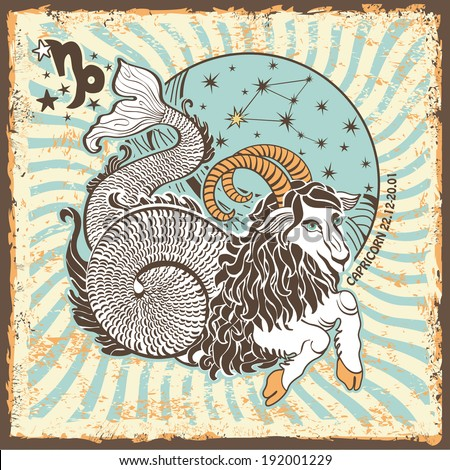 Capricorn zodiac signs of Horoscope circle with constellation on shabby vintage background.Graphic Vector Illustration in retro style.
