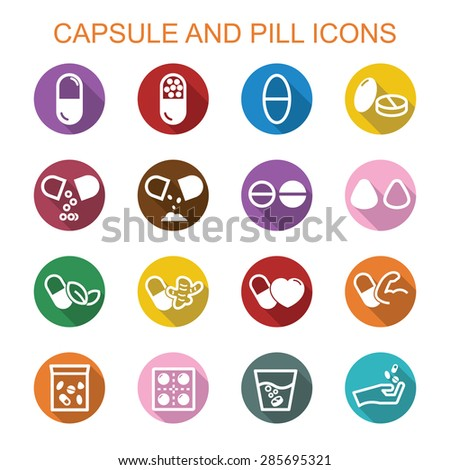 capsule and pill long shadow icons, flat vector symbols - stock vector
