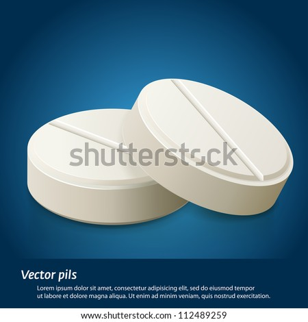 Capsule and white pill illustration - stock vector