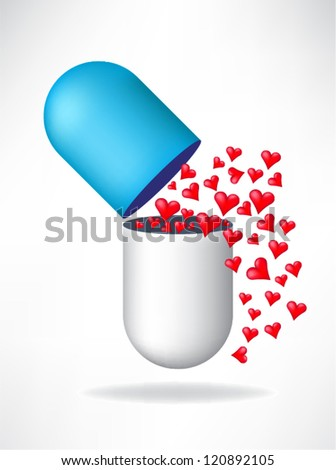 Capsule with hearts - stock vector