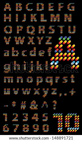 Capsules alphabet, abstract letters consisting of capsules, alphabet made of assorted, colorful pills, collection of letters alphabet made of medical capsules style