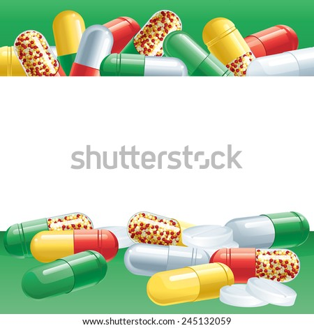Capsules. Vector background with many green Pharmaceutical capsules  - stock vector
