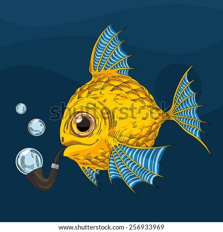 Jason dinalt 39 s fish set on shutterstock for Golden fish pipe